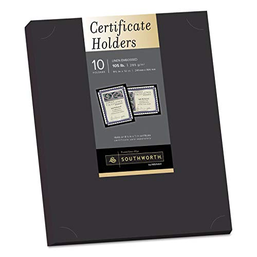 Southworth Certificate Holder, Black, Linen, 105 lbs., 12 x 9-1/2, 10/Pack