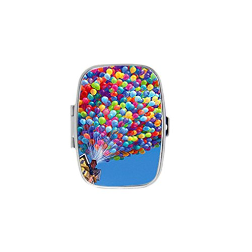 Colorful Balloons House Up Movie Stainless Steel Rectangular Pill Box Medicine Organizer Container Case Pocket or -