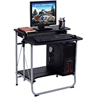 Foldable Computer Desk With Pull-Out Keyboard Tray And Bottom Storage Shelf Laptop Notebook PC Spacious Workstation Working Writing Table Home Office Space Saving Furniture Folding Design