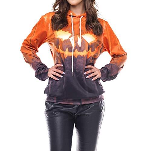 Yihaojia Women's Halloween Hooded Sweatshirt Grimace Pumpkin Party Long Sleeve Pullover Blouse (XXL, Yellow) -