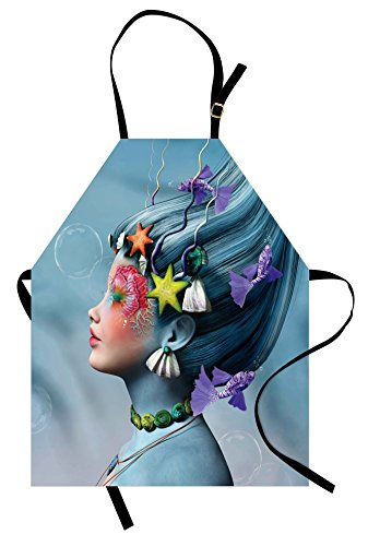 Ambesonne Mermaid Apron, Woman with Underwater Themed Make up Hairstyle Starfishes Seashells Fishes Bubbles, Unisex Kitchen Bib with Adjustable Neck for Cooking Gardening, Adult Size, Blue -