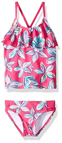 Kanu Surf Big Girls' Charlotte Flounce Tankini Beach Sport 2-Piece Swimsuit, Pink Floral, 12 (2piece Tankini)