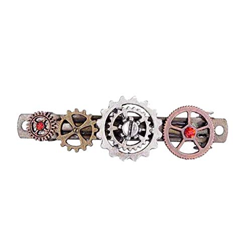 (Vintage Novelty Clock Mechanical Gears Steampunk Hair Clip Costume Accessory)