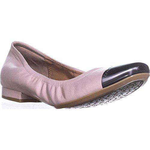 Calvin Klein Womens Fiana Leather Cap Toe Ballet Flats, Blush, Size 6.0