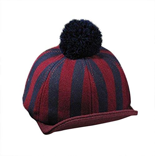 Gotd Baby Girls Boys Kids Knit Cap Stripe Earflap Warm Hat Visor (Red)