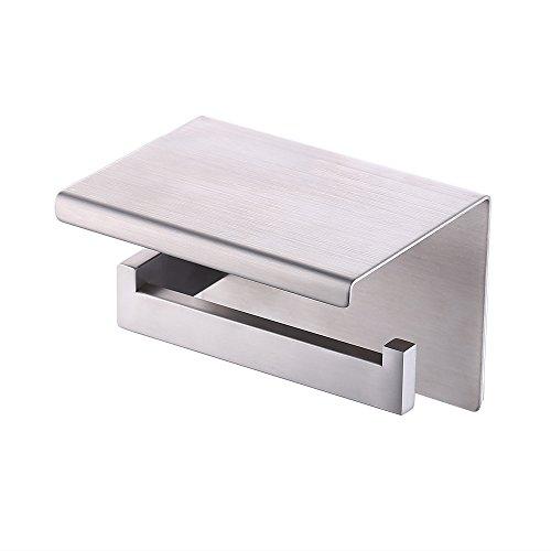 Kes Self Adhesive Toilet Paper Towel Holder Tissue Paper Roll Holder RUSTPROOF Stainless Steel Brushed, BPH7203S1-2