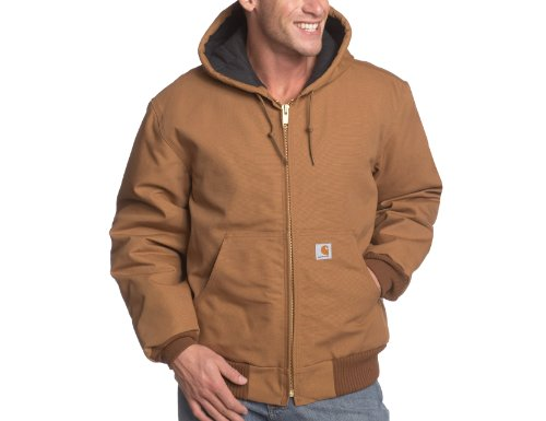 Carhartt Men's Big & Tall Quilted Flannel Lined Duck Active Jacket J140,Brown,Medium Tall