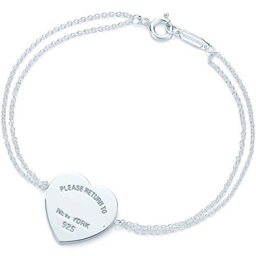 Double Heart Tag Bracelet - TTBRAND Return to Heart Tag Double Chain Bracelet in Silver