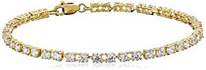 """18k Yellow Gold-Plated Sterling Silver Round Cut 3mm Cubic Zirconia Tennis Bracelet , 7.25"""""""