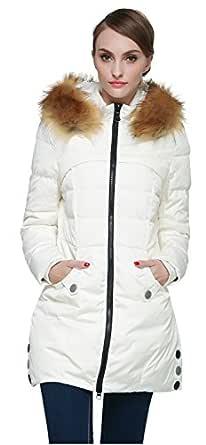 Orolay Women's Down Jacket with Faux Fur Trim Hood Beige XS