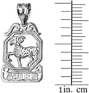 LA BLINGZ 14K White Gold Open Design Aries Zodiac Charm Necklace