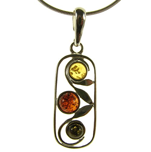 BALTIC AMBER AND STERLING SILVER 925 DESIGNER MULTI-COLOURED PENDANT JEWELLERY JEWELRY (NO CHAIN)