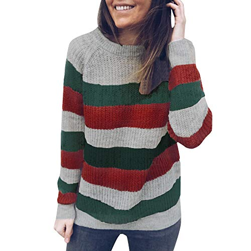 Cloth Halter Cover Terry (Striped Sweater Women Round Neck Knitted Tops Jumper Pullover Casual Blouse ANJUNIE(Green,M))
