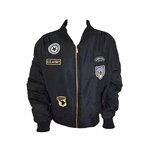 Señoras con cremallera chaqueta de bombardero de estilo más reciente Ejército negro
