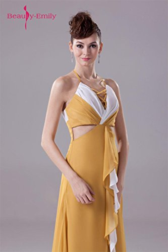 Beauty-Emily Maxi Sleeveless Spaghetti Strap Hollowed-out Christmas Gifts Night Evening Dresses Color Goldenrod,Size US20W by Beauty-Emily (Image #5)