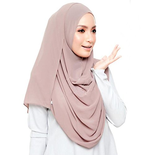 LMVERNA Chiffon Hijab Scarf Solid Color Muslim Hijab Long Scarf wrap Scarves (Light Khaki) by LMVERNA