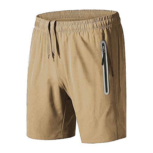 BIYLACLESEN Men Quick Dry Drawstring Reflective Zipper Pocket Bodybuilding -