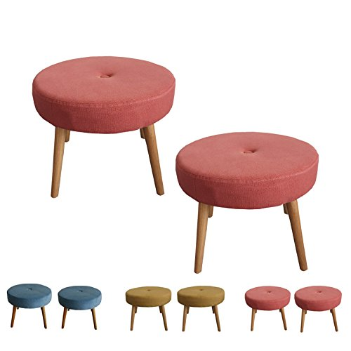 Kids Stool Chair Round Ottoman (Set of 2) | Upholstery Fabric Rubber Wood Legs Small Chair for Children (W20''xL20''xH16'', Red)