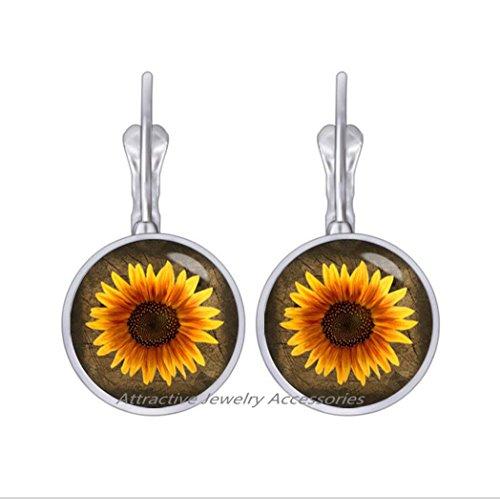 Goddess Golden Earrings - Wklo0avmg Beautiful Sunflower Earrings sunflower Stud Earrings flower jewelry golden sun goddess jewelry sun lovers Earrings gift for grandma,QK180 (Q1)