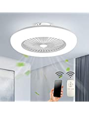 Plafondventilator met verlichting, led-licht, instelbare windsnelheid, dimbaar, met afstandsbediening, 32 W, moderne led-plafondlamp voor slaapkamer, woonkamer, eetkamer