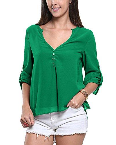 Mujeres Ocasionales Manga Larga Boton De La Gasa Cuello En V Dobladillo Irregular De Decoracion Camisas Tapas Verde