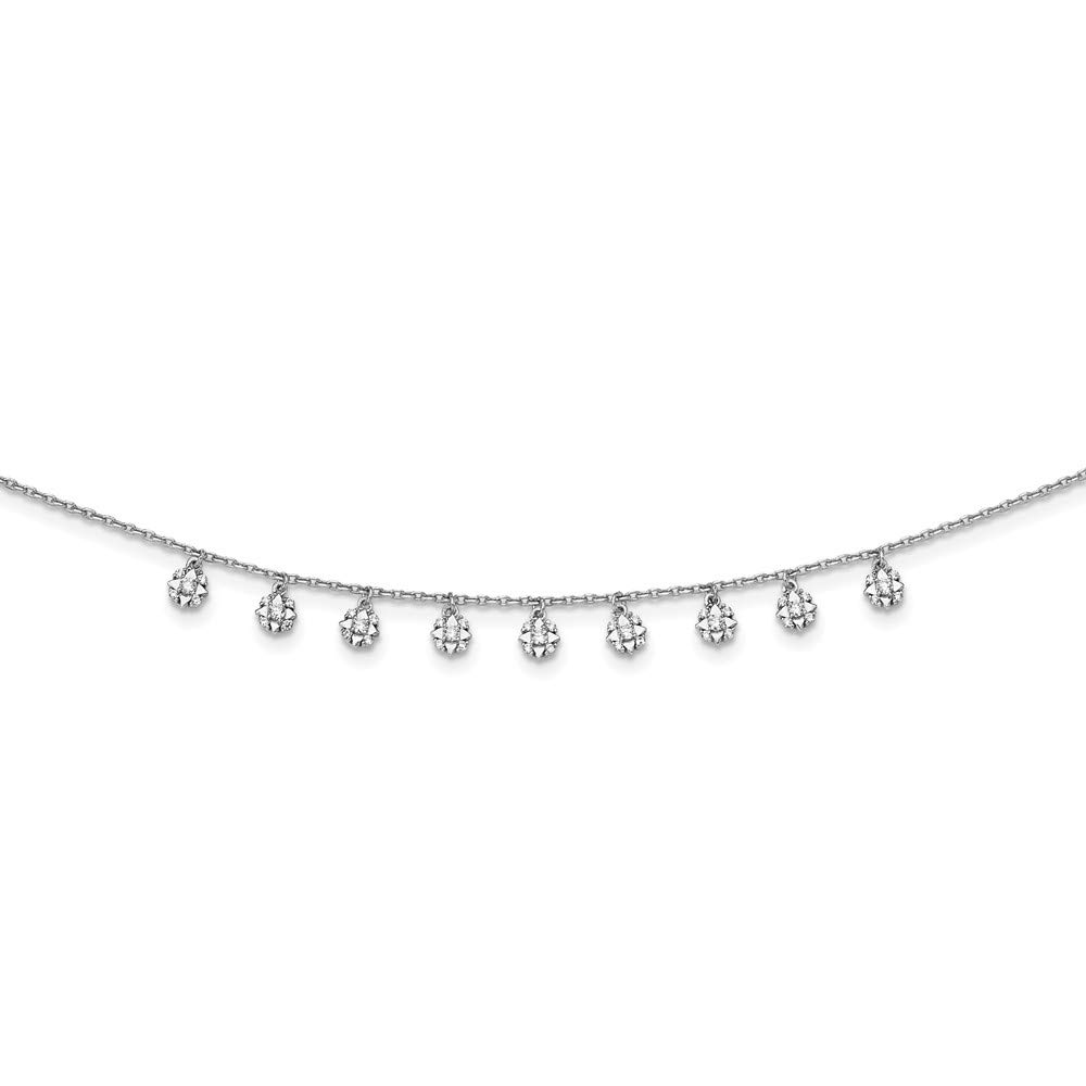 Star Dangles 18In Necklace Cubic Zirconia 18 Length 925 Sterling Silver CZ