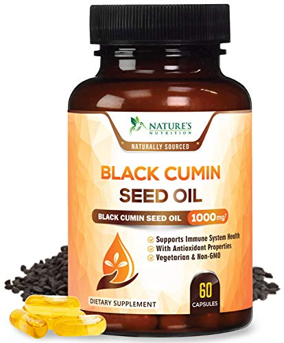 (Black Seed Oil Capsules, Max Potency Cold-Pressed 1000mg - Premium Nigella Sativa Black Cumin, Amazing Antioxidant Highest Thymoquinone, Non-GMO Supplement Pills by Natures Nutrition - 60 Capsules)