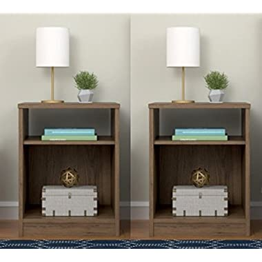 Set of 2 Nightstand with Open Shelf MDF End Tables Pair Bedroom Table Furniture - Rustic Oak