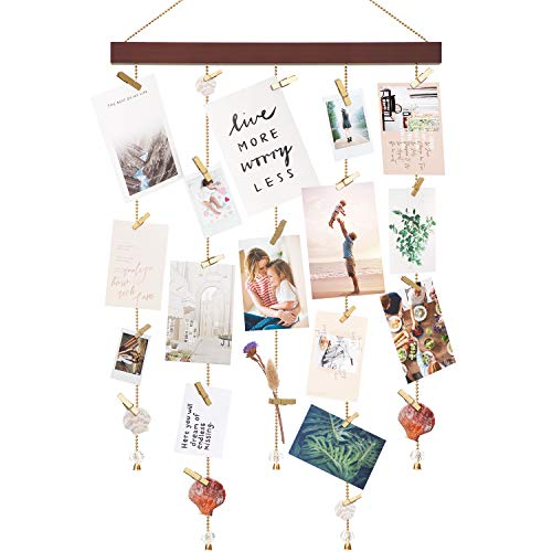 Mkono Hanging Photo Display Wall Hanging Picture Holders with 25 Wood Clips Picture Frame Collage Decoration for Home Office Nursery Room Dorm Holiday Card Display (Cards Photos Holiday With)
