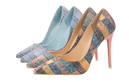 Makegsi Sexy Multicolore Femmes Bout Pointu Talons Hauts Talons Pompes Chaussures Bleu