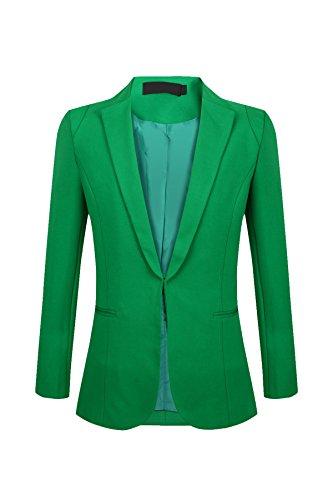 SHUIANGRAN Women's Women's Juniors Work Office Blazer Long Sleeve Blazers One Button Jacket Green US 14 (tag Asian 5XL) by SHUIANGRAN