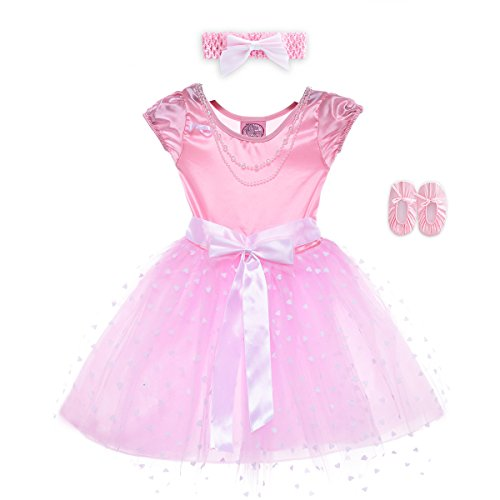 HBB Kids Little Girl's Dress Up Trendy Sassy Princess Dance Tutu with Headband & Shoes, SZ 3-5, Pink (Little Girls Dress Up)
