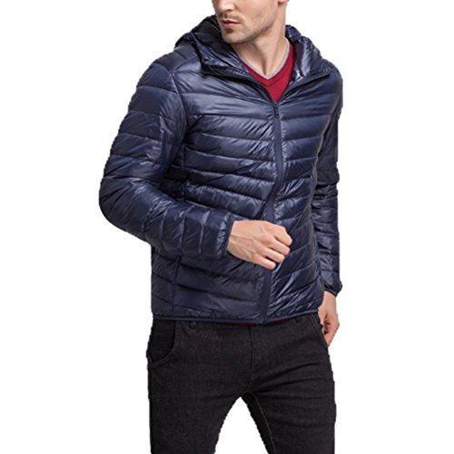 Walking Lightweight Mens Zipped Laixing Hiking Jacket Blue Dark Hooded Warm Jacket Outwear Down Winter BxYvqU
