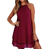 HGWXX7 Women Summer Casual Plus Size Solid Chiffon Strap Beach A-Line Mini Dress