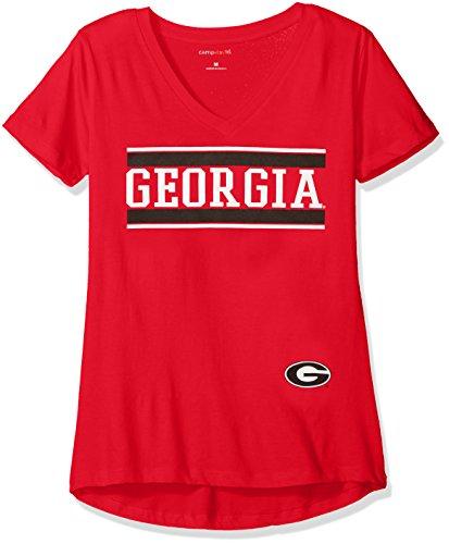 Camp David NCAA Georgia Bulldogs Diva Women's Perfect Short Sleeve V-Neck Tee, Red, ()