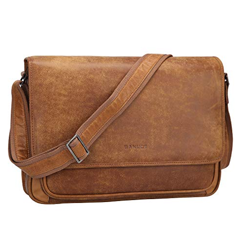 Banuce Vintage Soft Full Grain Italian Leather Messenger Bag for Men Satchel Crossbody Purse for Women Business Shoulder Briefcase Work 14 Inch Laptop Bag (Leather Satchel Flap Bag Detail)