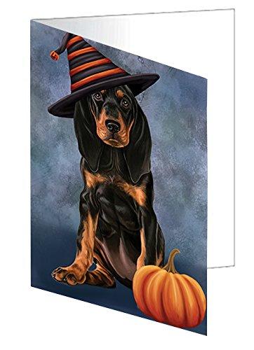 Happy Halloween Coonhound Dog Wearing Witch Hat with Pumpkin Greeting Card (Halloween Hound Pumpkin)