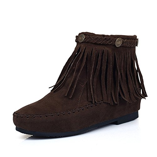 Rritoce Women's Round Toe Moccasin Faux Suede Flat Ankle Boots Dark Brown6.5 B(M) US Cute