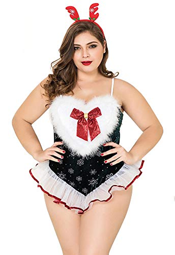 Esquki Women Christmas Costume Sexy Ms. Santa Party Outfit with Hat (Large Teddy) -