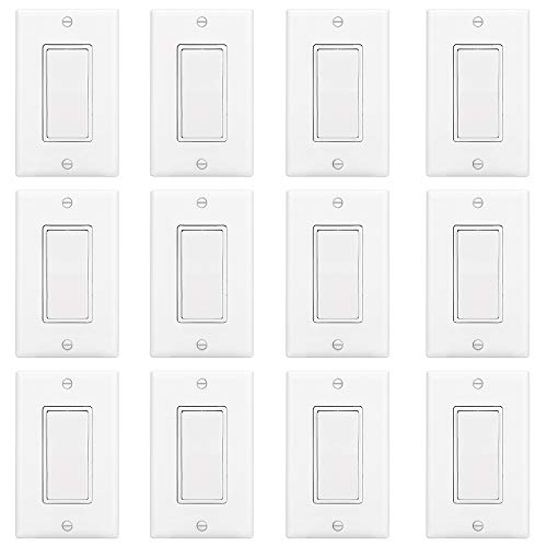 ELECTECK ON/OFF Light Switch with Cover, Pack of 12, 15A 120/277V, Electric AC Paddle Rocker Interrupter, Single Pole Grounding, Residential & Commercial Grade, Wall Plate Included, UL Listed, White