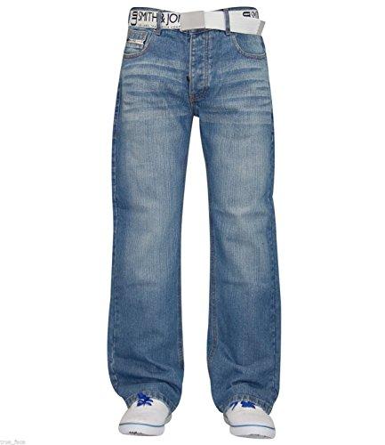 Pantalon Ceinture Smith amp; Straight Clair Gratuit Délavé Jones Mens Jeans Denim Designer Régulière Coupe xqXP5En