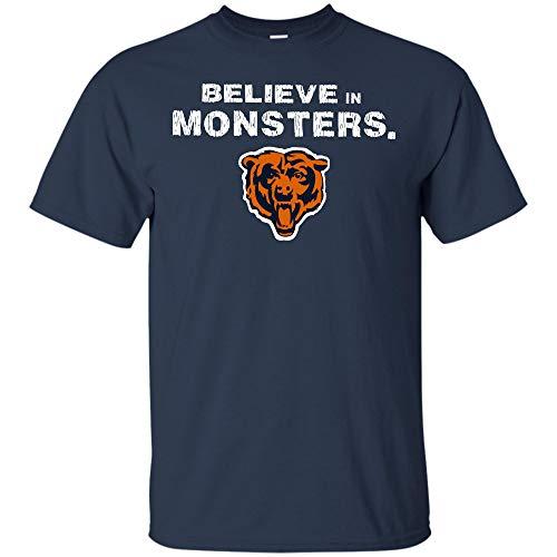 Believe in Monsters Chicago Bears Football Retro T Shirt Hoodie Long Sleeve for Men Women (Unisex T-Shirt;Navy;S) ()