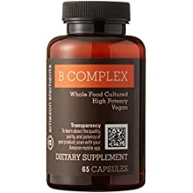 Amazon Brand - Amazon Elements B Complex, High Potency, 83% Whole Food Cultured, Vegan, 65 Capsules, 2 month supply