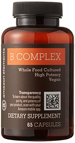 Cheap Amazon Brand – Amazon Elements B Complex, High Potency, 83% Whole Food Cultured, Vegan, 65 Capsules, 2 month supply