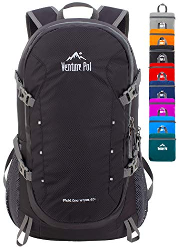 Venture Pal 40L Lightweight Packable Backpack with Wet Pocket - Durable Waterproof Travel Hiking Camping Outdoor Daypack for Women Men-Black