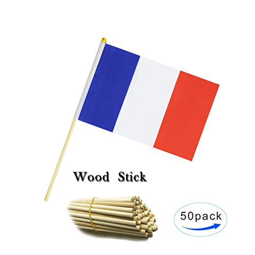 Kind Girl Wood Hand Held France Flag French Flag Stick Flag Small Mini Flag 50 Pack Round Top National Country Flags,Party Decorations Supplies For Parades,World Cup,Sports Events, Celebration