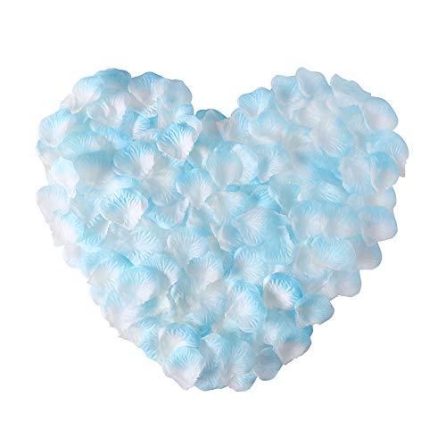 APICCRED 2000 PCS Artificial Silk Flower Rose Petals for Bridal Wedding Party Decoration (White and -