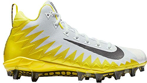 Nike Men's Alpha Menace Pro Mid Football Cleats (White/Yellow,10 D (M) US)