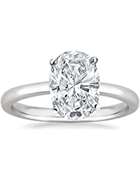 1 1/2 Carat 14K White Gold Oval Cut Solitaire Diamond Engagement Ring (1.5 Carat I-J Color I1 Clarity)