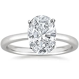 14K White Gold Oval Cut Solitaire Diamond Engagement Ring (0.70 Carat J Color SI1 Clarity)
